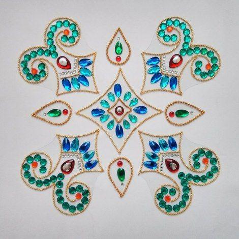 9 piece Kundan Rangoli -Home Decor-Dipti Art & Craft