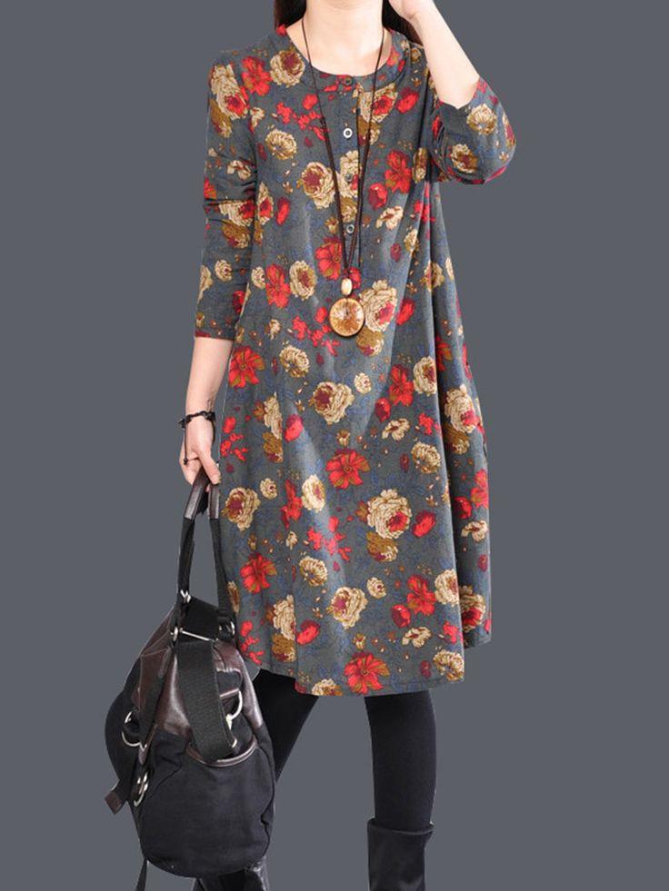 Casual Floral Print Loose Irregular Long Sleeve O-neck Women Dresses