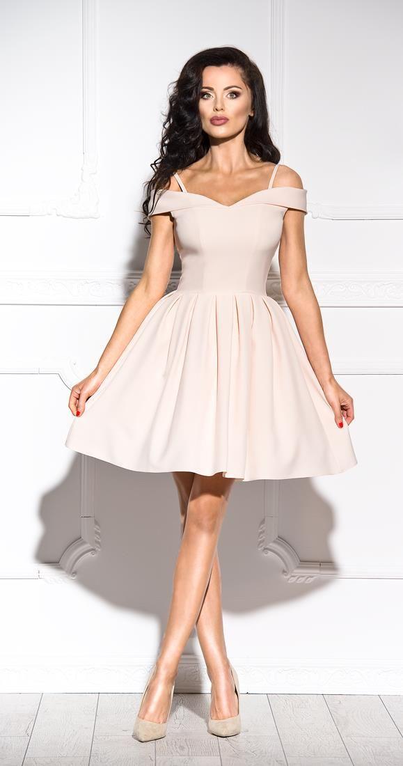 eafce0fdf6 Rozkloszowana Sukienka z Opadającymi Ramiączkami Beżowa SHE24 ...