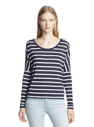 66% OFF LAmade Women's Classic Stripe Drop-Shoulder Top (Navy/White)