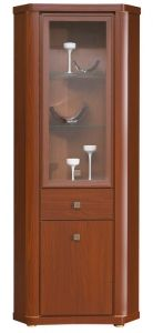 BG6 BOGO BOGFRAN corner glass-fronted cabinet. Classic look with a touch of modernity. Noble shade, spectacular decor, stylish shapes. Execution: high quality laminated chipboard. Colour: corsico chestnut. Hinges with integrated dampers ensure the doors close slowly, silently and softly. Polish Bogfran Modern Furniture Store in London, United Kingdom #furniture #polish #bogfran #glassfrontedcabinet #cabinet