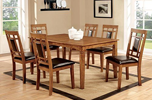 Transitional style inspired dining set Wooden rectangular top dining table and lattice back chairs with padded leatherette seats Finished in light oak, set includes one (1) dining table and six (6) chairs