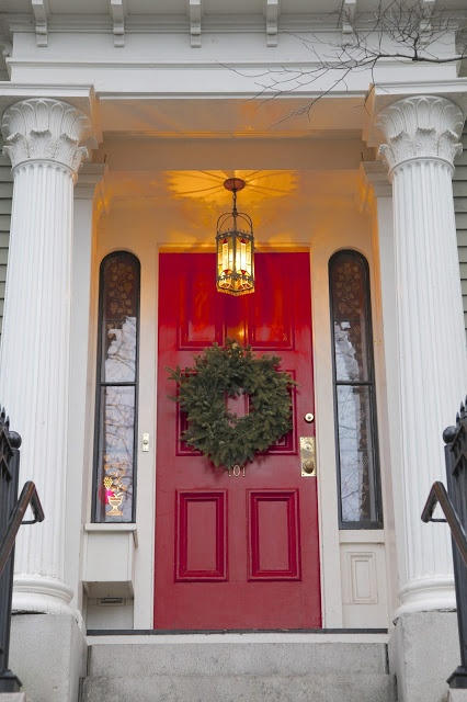 High-Gloss paint on a front door of an older home is a nice look.  Red and black are great colors for high-gloss painted doors.