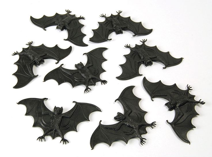 scary creatures pack of 8 black rubber bats halloween decoration joke