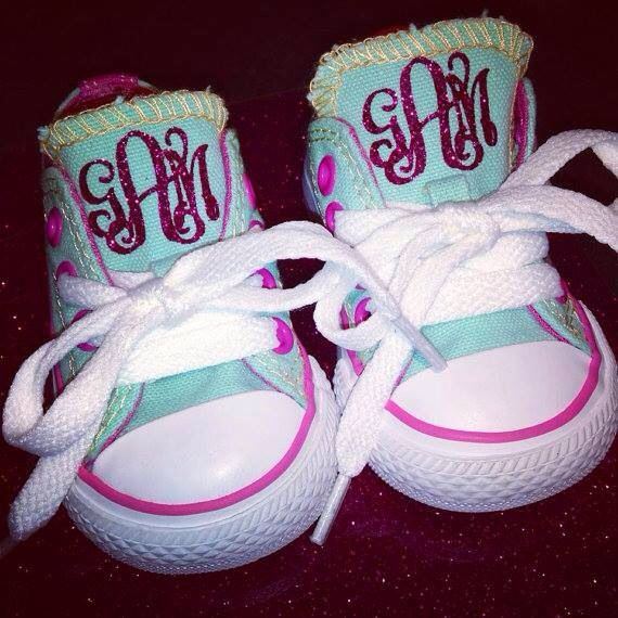 shoes toddler htv converse monogram chuck glitter taylor vinyl monogrammed bouncer projects babies miley cyrus decal shoe adult visit children