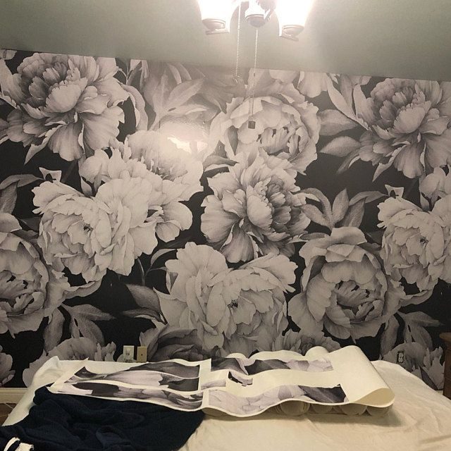 Giant Black And White Peony Removable Wallpaper Peel And Stick Etsy Wallpaper Peel And Stick Wallpaper Removable Wallpaper