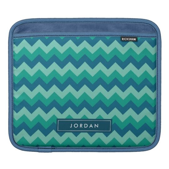 Trendy Preppy Teal Blue Chevron Monogram Sleeve For iPads by Rosewood and Citrus on Zazzle