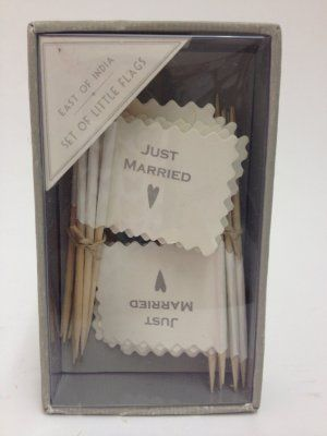 Just Married Flags £7.99 Box of sixteen East of India 'Just Married' Flags Ideal for table decoration or as part of the wedding favours (not suitable for food use) Approx Dimensions: H:10cm x W: 6cm #wedding