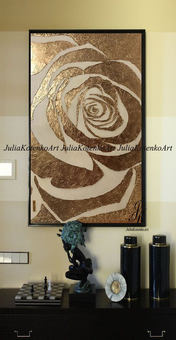 Large Abstract Painting Rose Gold Painting Textured Painting Modern Art Wall Decor Gold Leaf Rose Painting On Canvas by Julia Kotenko