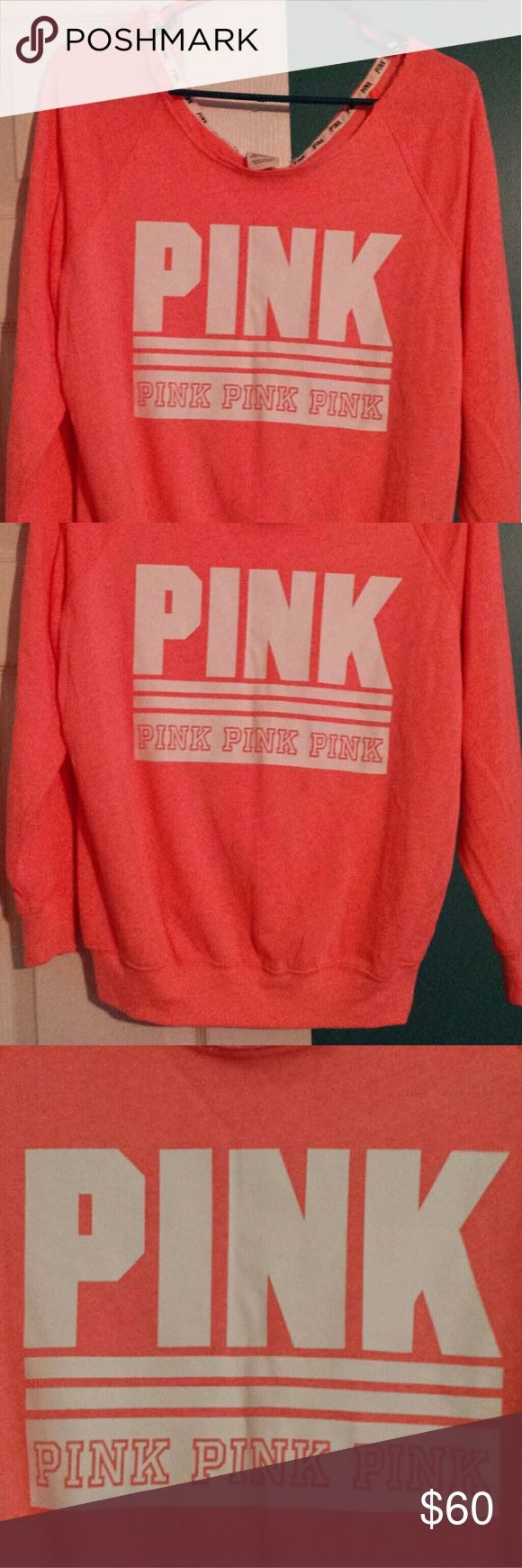 NEW, VS PINK SLOUCHY SHOULDER, RAW EDGE SWEATSHIRT NEW, IN ONLINE BAG VS PINK SLOUCHY SHOULDER, RAW EDGE SWEATSHIRT, VERY PRETTY Victoria secret Tops Sweatshirts & Hoodies