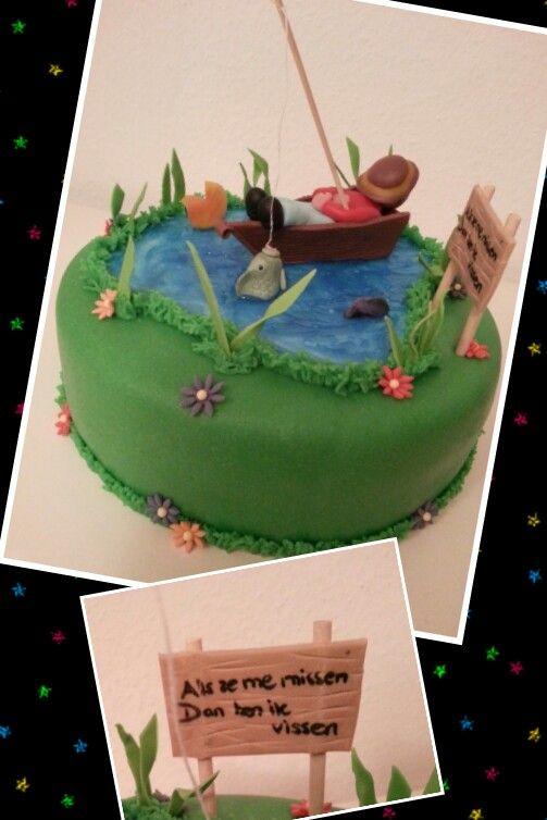 Fishing cake / slapende visser taart