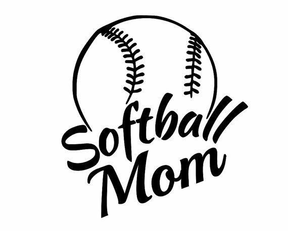 """Sports Decals, Softball Mom, 6"""" tall, Show support for your team, Proudly display on your car window, locker, jeep, truck, laptop, computer"""