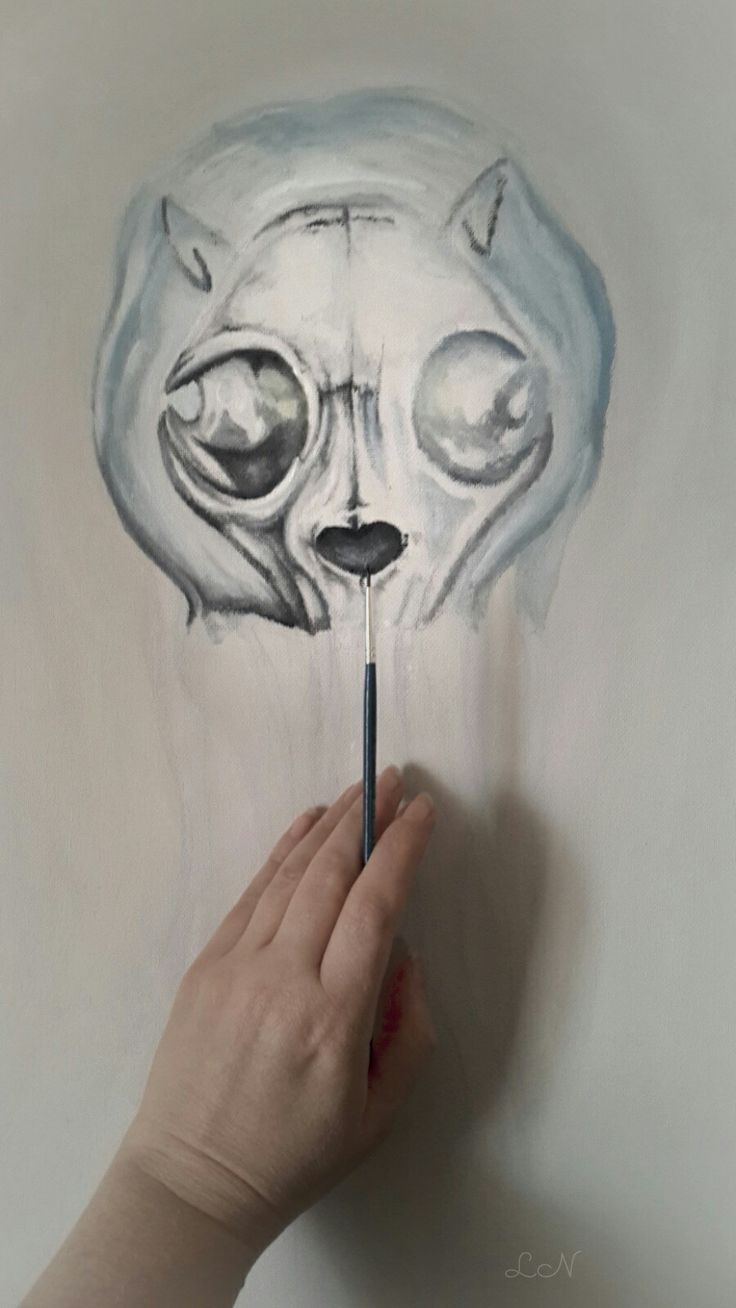 Cat skull in a jellyfish  painting work in progress