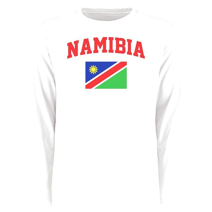 Namibia Flag Long Sleeve T-Shirt - White - $27.99