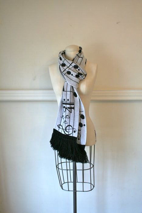 *vintage scarf MUSIC NOTES long knit scarf by MsTips on Etsy