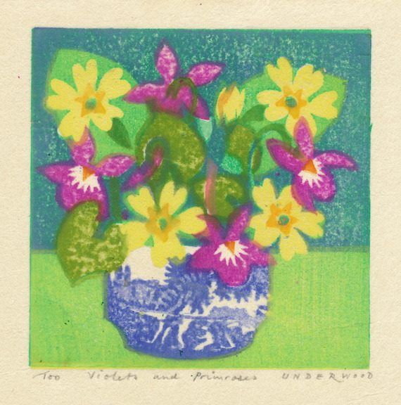 """Violets and Primroses"" by Matthew Underwood (woodblock print)"