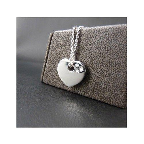 Pendentif moderne en forme de coeur serti de diamants, à nouer avec une  chaîne en