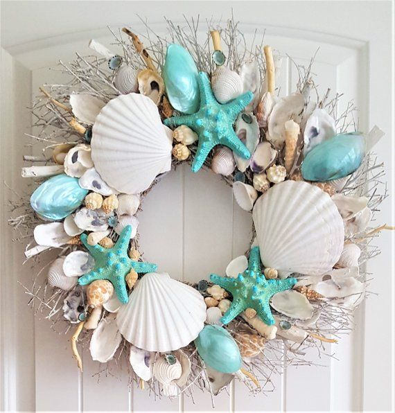 Decorative Wreath 9.5-Inches Seaside Shells and Starfish