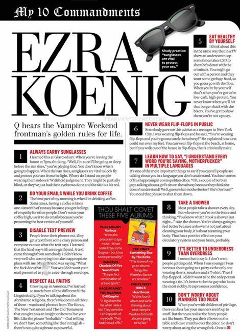 Ezra Koenig's 10 Commandments (Q Magazine, October 2014 issue)