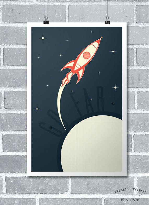 Retro Rocket Spaceship nursery kid's room boy's room art poster print.
