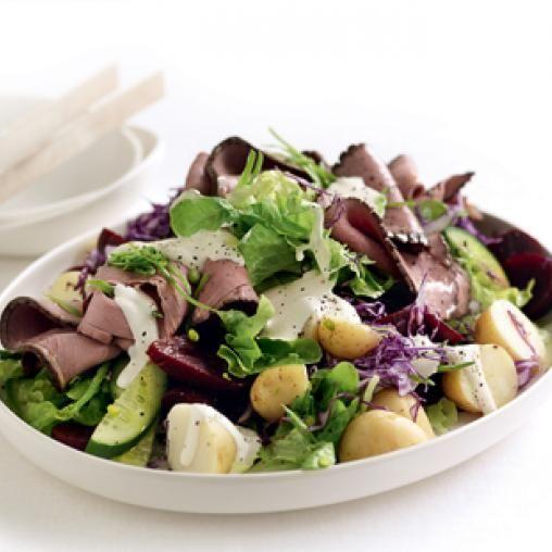 Roast beef, beetroot and potato salad