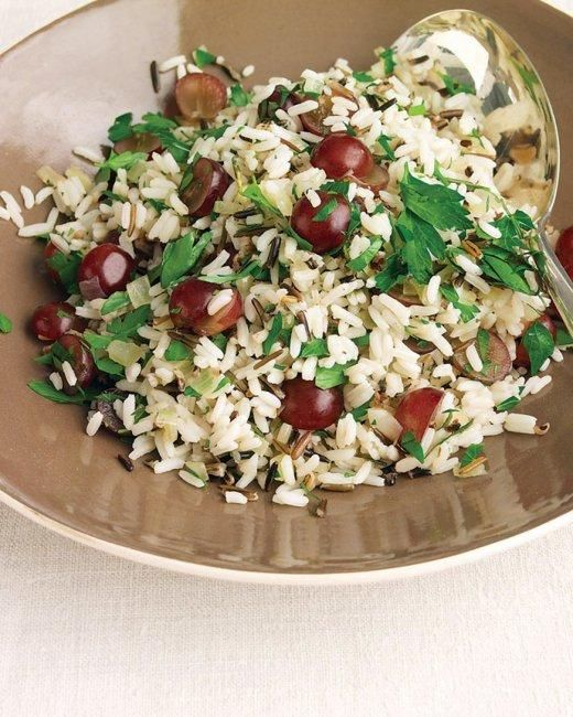 Wild-Rice Pilaf with Rosemary and Red Grapes Recipe: Side Dishes, Adding Grapes, Recipe, Food, Red Grapes, Wild Rice Pilaf, Martha Stewart, Rosemary, Thanksgiving Sides