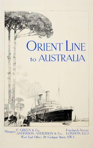 Australia Orient Line SS Ormonde, 1920s - original vintage poster listed on AntikBar.co.uk