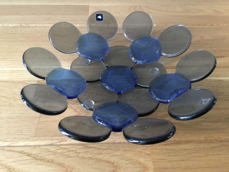 Leonardo  glazen schaal punten blauw grijs 22 cm