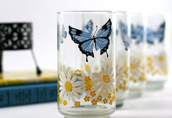 Set of Four Daisy & Butterfly Glasses - Blue, Yellow, White - Blue, Yellow Kitchen on Etsy, $24.00