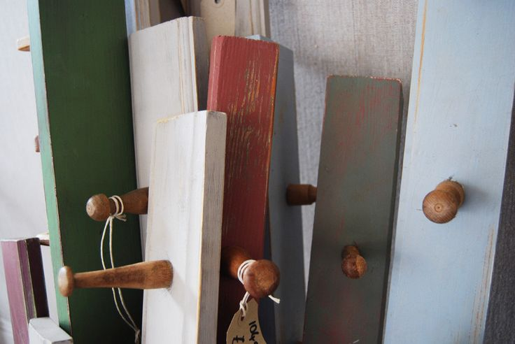 Handmade coat hooks made from old wardrobe backboards, available in a range of lengths and colurs   Elizabeth Lee Interiors