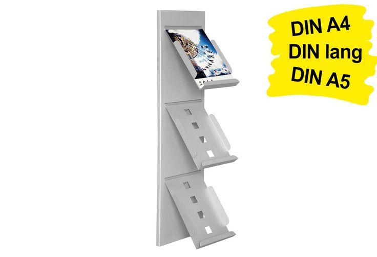 Der Wandprospekthalter A4 SLIM (3x DIN A4 / 6x DIN lang / 3x DIN A5) verkörpert hochwertiges Design und hohe Qualität auf kleinster Fläche.  So lassen sich Ihre Prospekte im DIN A4 Format in 3 Prospektablagen auf feinste Art und Weise auslegen. https://www.messepartner.de/shop/prospektregal-messe/wandprospekthalter-a4-slim/