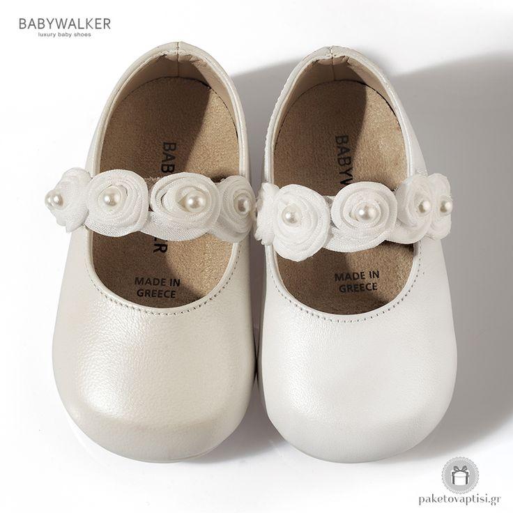 Παπουτσάκια για τα Πρώτα Βήματα με Λουλουδάκια και Περλίτσες Babywalker PRI2514
