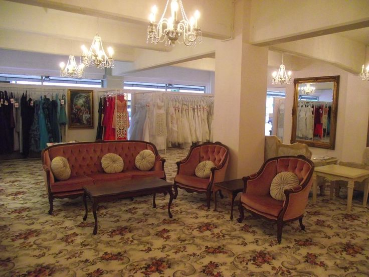Seating area of our luxurious, French-inspired bridal showroom.