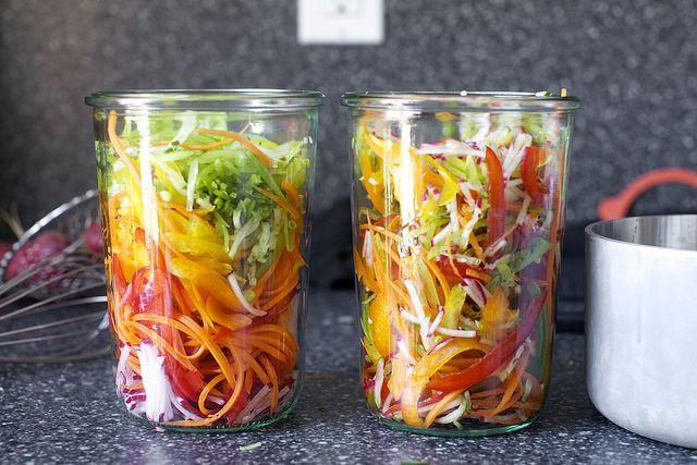 1c.vinegar, 6tbsp sugar, 3tbsp Kosher salt, 2tbsp yellow mustard seeds, 1c. cold water, non-reactive pot, 4-5c. slivered raw, firm veggies, two 3/4liter jars, set 24hrs, keeps in fridge 1 month (veggies under brine)