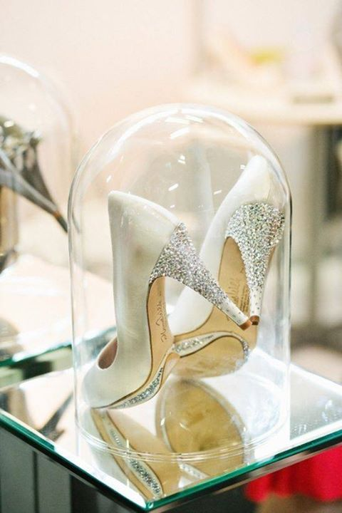 These may be wedding shoes (which I don't need) but they are indeed spectacular enough to be displayed under glass!  Shoe obsession!