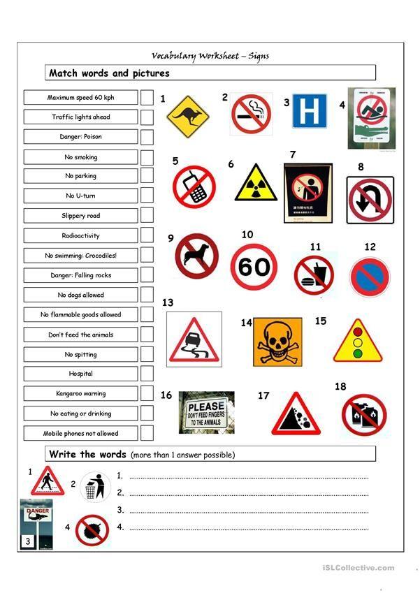 Vocabulary Matching Worksheet Signs Safety Signs And Symbols Kindergarten Worksheets Kindergarten Worksheets Printable