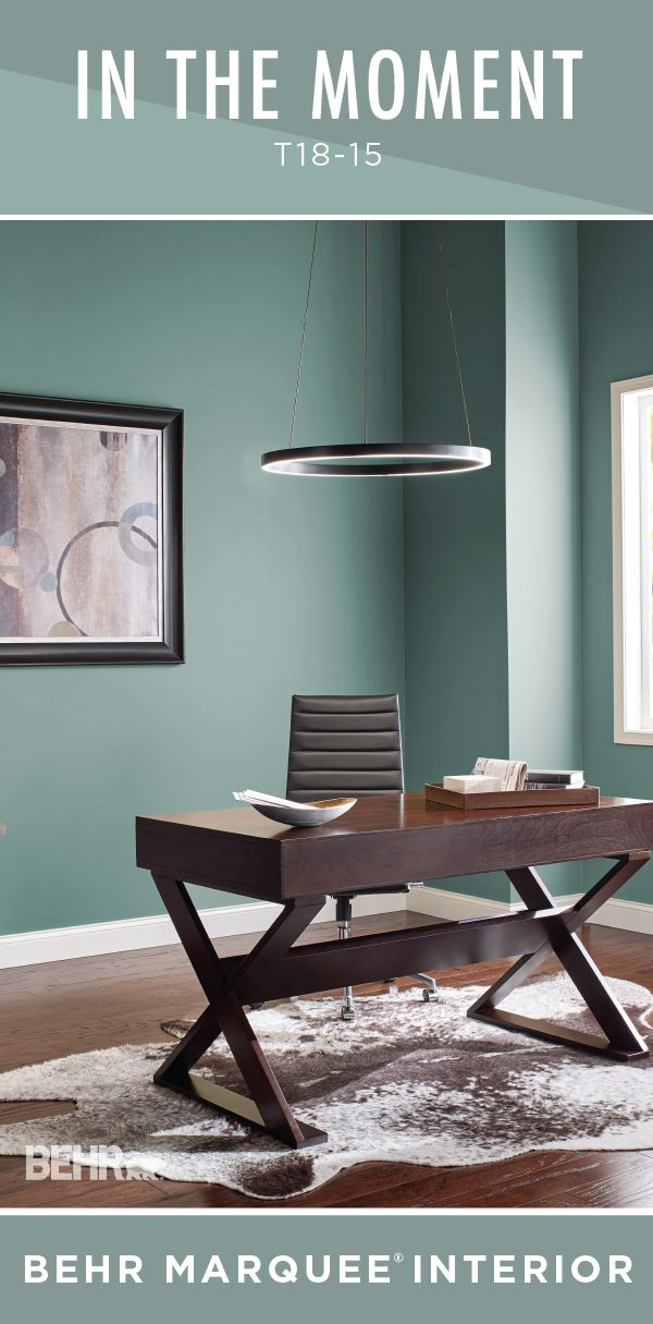 Working from home is a joy when your office features the calming blue-green hue of the BEHR 2018 Color of the Year: In The Moment. BEHR MARQUEE® Interior Paint was designed to cover in one-coat when you choose a color from our One-Coat Color Palette to paint over a previously painted surface. Learn more about BEHR Marquee Interior Paint.