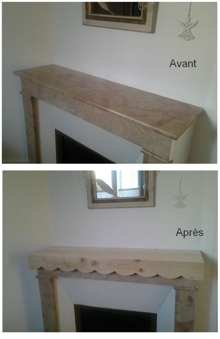 relooking dessus de chemin e en marbre une planche de pin coup e la bonne dimension une. Black Bedroom Furniture Sets. Home Design Ideas