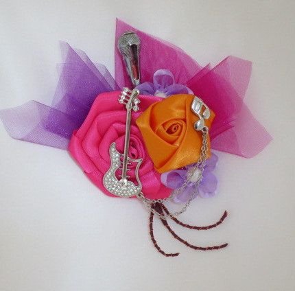 Music Theme Silver Guitar Brooch Boutonniere with microphone vibrant hot pink orange purple Groom's bout Usher  prom bout corsage buttonhole by HeirloomsInElegance on Etsy