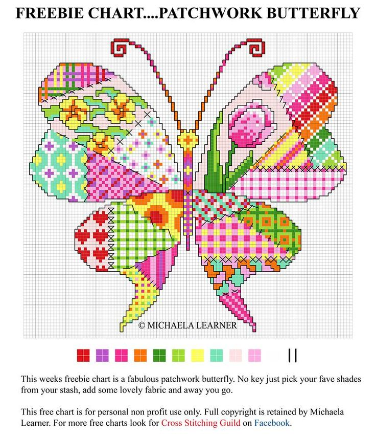Patchwork cross stitch - butterfly