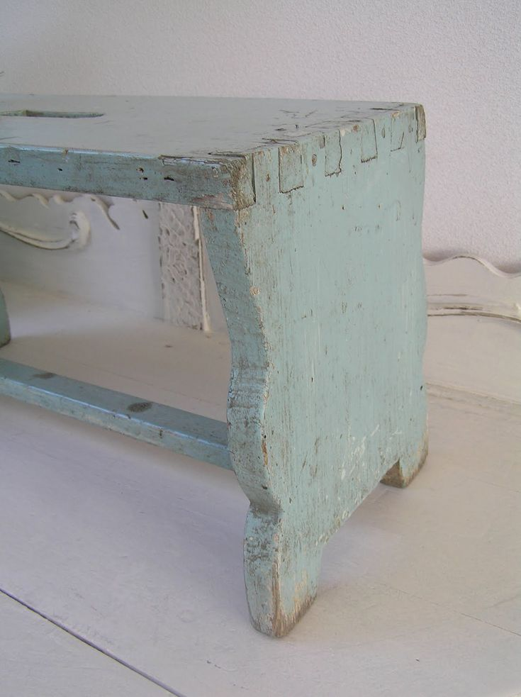 love this color Soft french grey blue on old swedish bench
