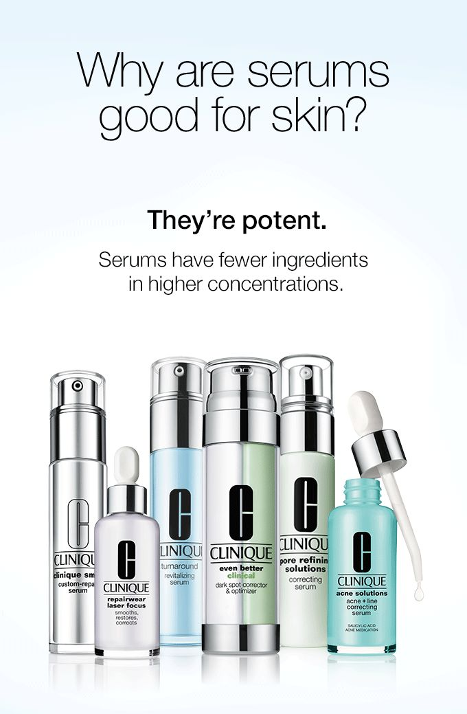 Why are serums good for skin? They're potent. Serums have fewer ingredients in higher concentrations. They're focused.They target specific skin concerns. They penetrate quickly. That means they go to work instantly. They get visible results. Use them twice a day and you'll see a visible difference.