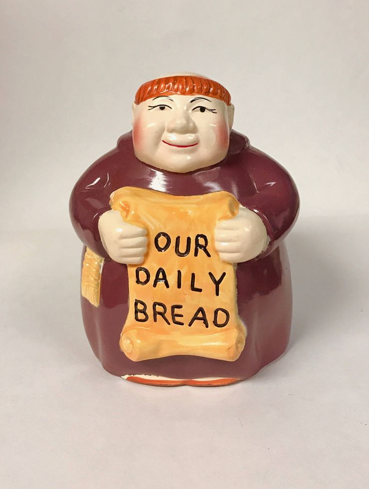 A Fun Retro Bank Monk Holding a Sign Our Daily Bread by SandysTrinkets on Etsy