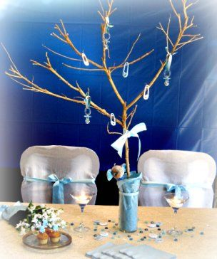 tree: Centerpieces Ideas, Shower Ideas, Baby Boy Shower, Baby Shower Centerpieces, Baby Boys, Blue Centerpieces, Boys Shower, Boys Baby Shower, Trees Centerpieces