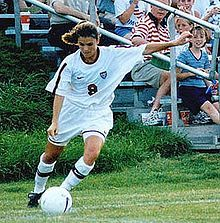 Mia Hamm - retired American soccer player.  Hamm has scored more international goals in her career than any other player, male or female, in the history of U.S. soccer.