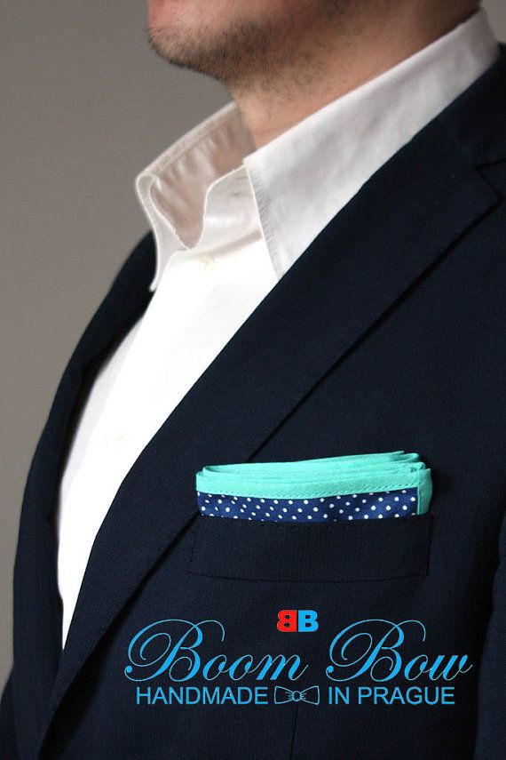 """Pocket Square 16"""" Cotton blue polka dot and turquoise edge handkerchief 16""""x16"""" Free Shipping"""