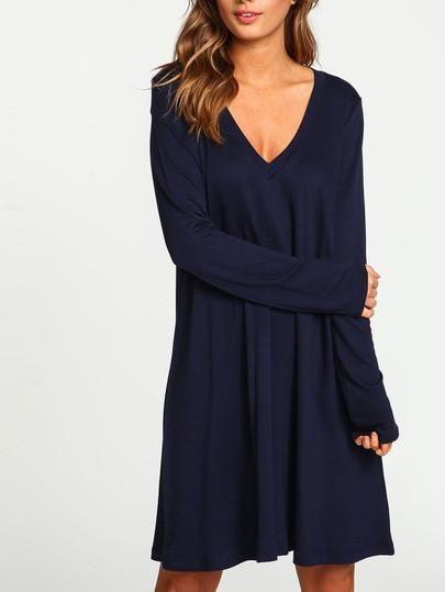 Casual Navy Blue V Neck Long Sleeve Shift Dress