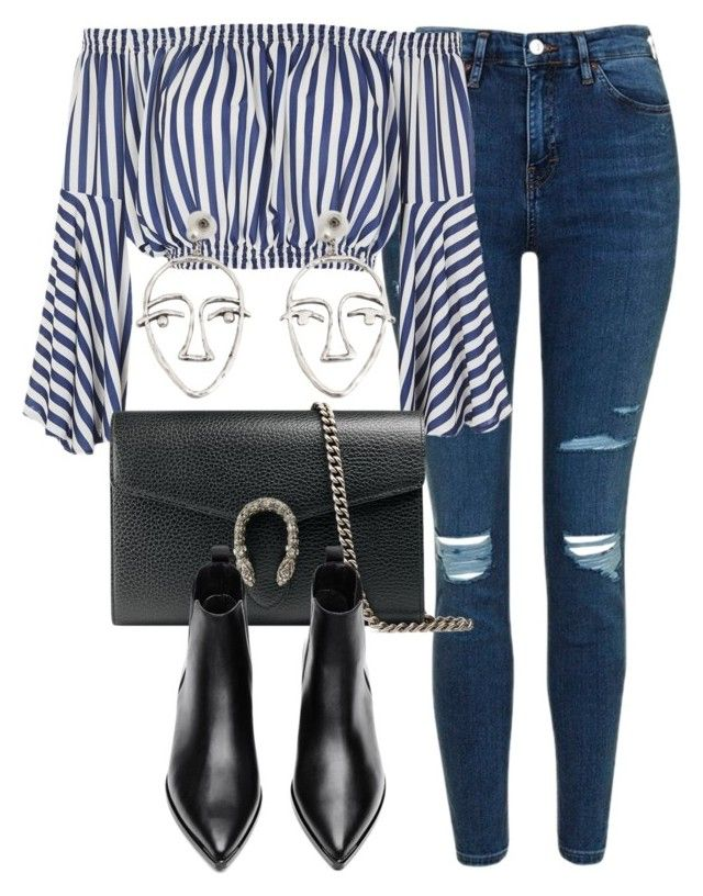 """Untitled #6692"" by laurenmboot ❤ liked on Polyvore featuring Topshop, Love, Gucci, Acne Studios and MANGO"