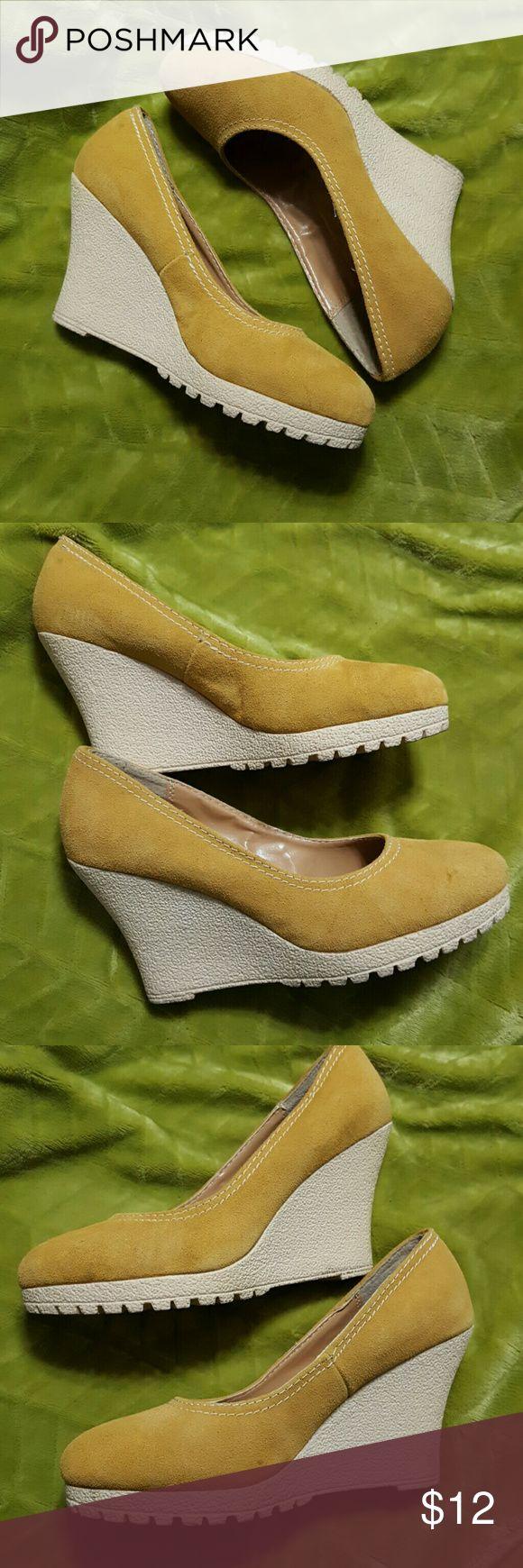 Golden Genuine Suede Wedge Pump Golden Yellow Moccasin color genuine suede wedge pumps size 8 with 3 1/2 inch heel Shoes Wedges