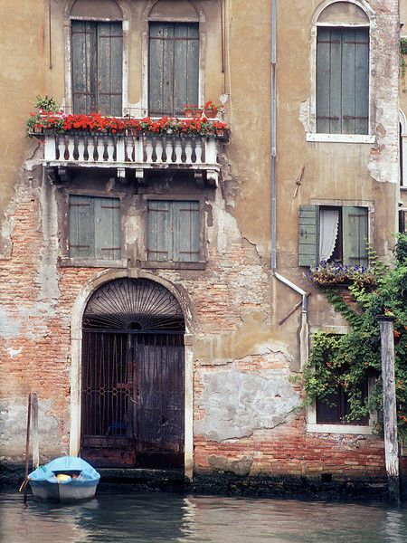 European picture of blue boat and old building in Venice, Italy by Dennis Barloga | Photos of Europe: Fine Art Photographs by Dennis Barloga